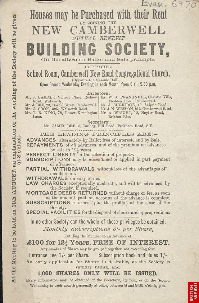Advert for the New Camberwell Mutual Benefit Building Society 6970